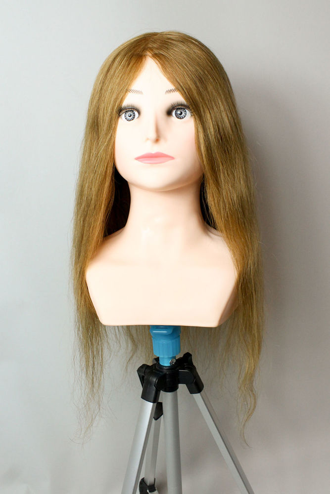 Picture of HAIRDRESSER TRAINING DUMMIES - REAL HAIR - BROWN COLOUR -55 CM